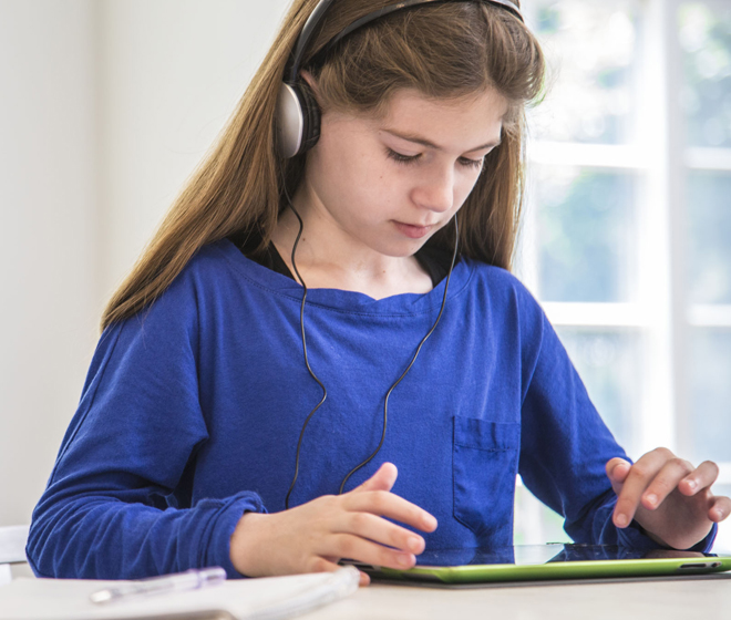 Girl Reading Audiobook