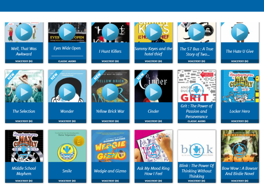 Screen shot of Alyssa's digital shelf of book covers and video trailers on You-Tube