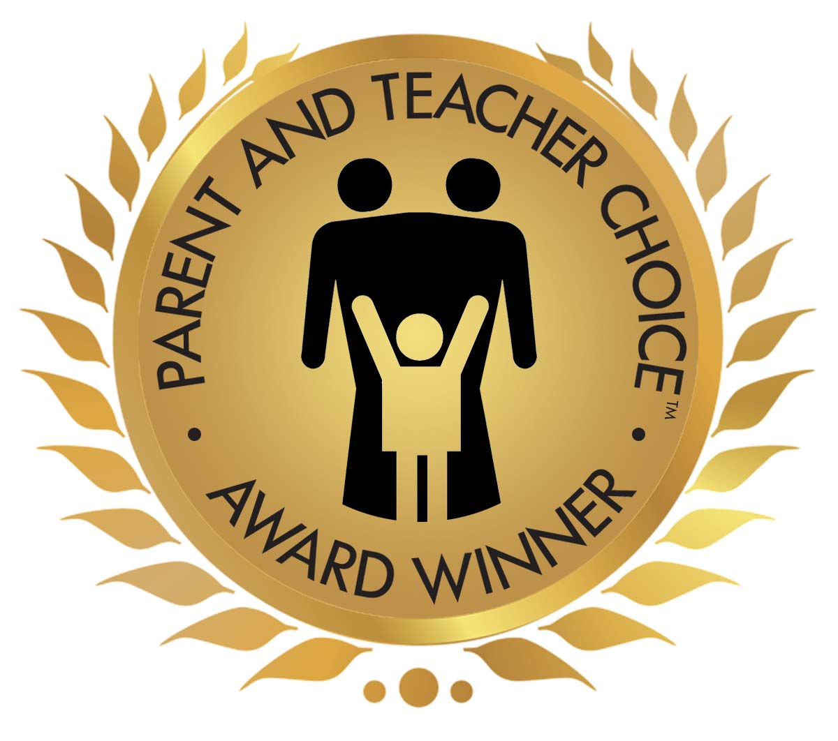 Parent and Teacher Choice Award - a gold circle with leaves surrounding it.
