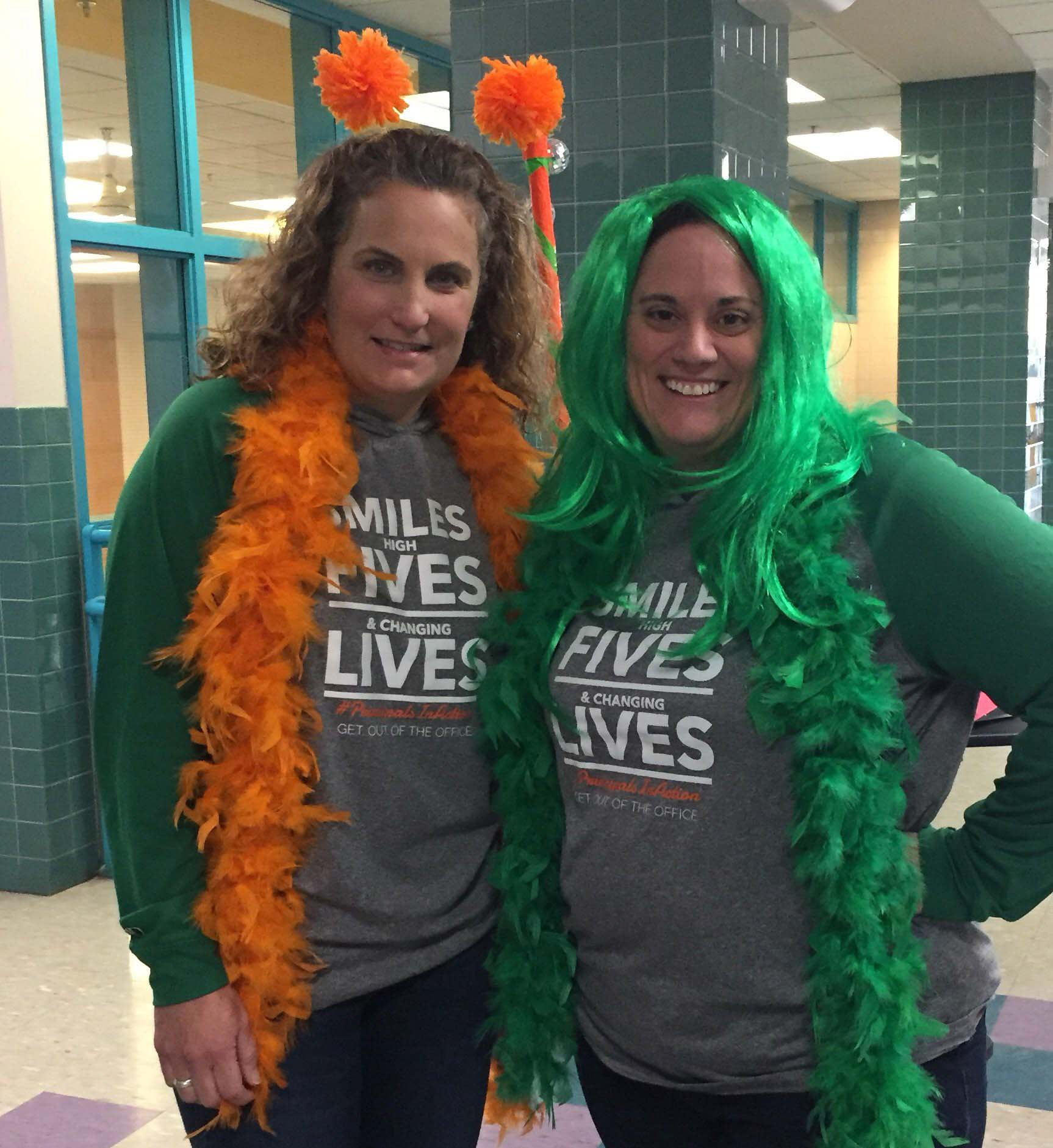 Ms. Bilello with colleague dressed up in costume.