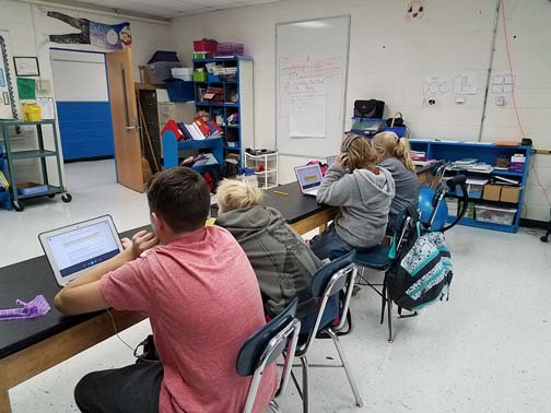 NC Students in Class using audiobooks