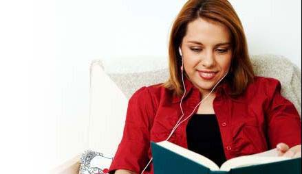 Woman reading an audiobook